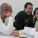 De izquierda a derecha: Jorge Espinosa(Colombia), Alberto Salcedo Ramos (Colombia), Maestro Invitado Módulo de Cultura Popular,  y Daniela Silva (Chile). Clínicas individuales.Joaquín Sarmiento/Archivo FNPI