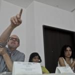 Sesión de la Beca GGM. De izquierda a derecha: Héctor Feliciano (Puerto Rico), Nina Martyris (India) y María Jesús Zevallos (Perú). Barranquilla.Joaquín Sarmiento/Archivo FNPI