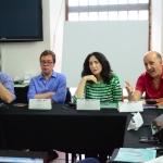De izquierda a derecha: Héctor Feliciano (Puerto Rico), Mario Jursich (Colombia), Francine Prose (EU) y Jonatan Levi (EU).
