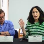De izquierda a derecha: Mario Jursich (Colombia) y Francine Prose (EU), maestros invitados de la Beca GGM. Álvaro Delgado /Archivo FNPI